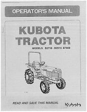 Kubota B2710, B2910, B7800 Operators Manual & Electrical sketch. for B7800 pdf