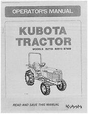 Kubota B2710, B2910, B7800 Operators Manual & Electrical sketch. for B7800 pdf