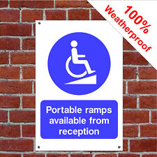 Portable ramps available from reception sign DDA act health & safety DDA06 20x30