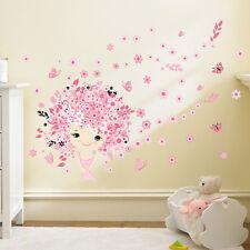 Wandtattoo Mädchen Schmetterling Kinderzimmer Babyzimmer rosa pink süß Blume