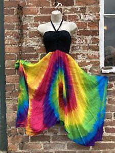 ladies Light Cotton Maxi dress hippie/boho/festival free size, rainbow tie dye