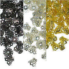 100 Bead Caps 8mm Filigree Bell Cone Dome Jewellery Making Silver or Gold Plated