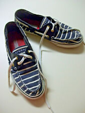 Sperry Top-Sider boat shoes, sneakers, canvas flats, navy/white stripes, sz 8