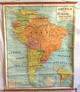 VINTAGE ROLL SCHOOL MAP AMERICA SOUTH - SUR 1962 ANTIQUE POSTER 101x108Cm CARTEL
