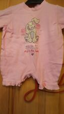 baby girls short sleeved pink babygrow with puppy on size 3/6 months