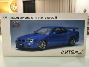 AUTOart 1/18 Nissan Skyline GT-R (R34) V-SPEC II 77335 RARE