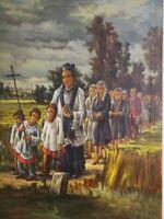 Grande dipinto olio tela - La Processione - eccelsa resa artistica - 1970 circa