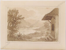 """Isidore-Laurent Deroy (1797-1886) """"Swiss Lake View"""", Drawing, 1820s"""