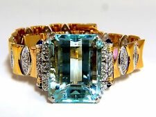 GIA Certified 56.05ct natural aquamarine diamonds bracelet Bohemian Deco