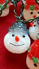 Vintage Christmas Popcorn Plastic SNOWMEN & SANTAS String Lights Blow Mold