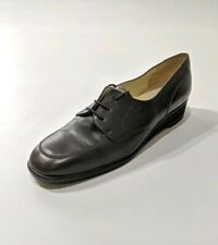 New Womens Bally Leather Derby Shoes Brown Moc Toe Wedge UK 7.5 D EU 38 RRP£390