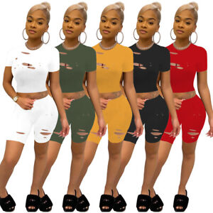 New Fashion Women Short Sleeves O Neck Ripped Patchwork Solid Casual Pants Set