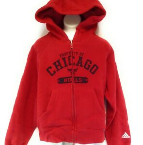 Youth Kids Boys Girls Adidas NBA Chicago Bulls Red Full Zip Hoodie Sweatshirt