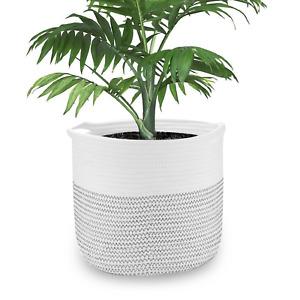 Cotton Rope Storage Basket Indoor Planter Cover Woven Pot Basket M&W