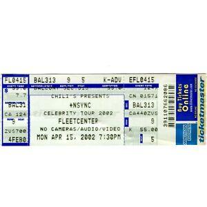 *NSYNC Concert Ticket Stub BOSTON MA 4/15/02 FLEET CENTER CELEBRITY TOUR Rare