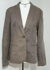 Women's H&M Blazer Jacket UK-12 Linen Blend Light Brown V-Neck Buttons VGC