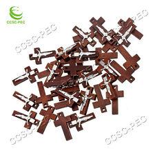 FREE Wholesale 50pcs INRI Alloy JESUS Cross Wood Beads Pendants Fit Necklace