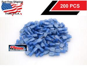 200pcs 16-14 Gauge Fully Nylon Insulated Female Spade Speaker Connectors Blue