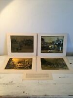"""4 Vintage 10""""x8"""" Reproduction Prints Of Lionel Barrymore Sea Etchings In Gold"""