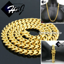 """30""""MEN Stainless Steel 10mm Gold Miami Cuban Curb Chain Bracelet Necklace*GS154"""
