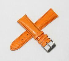 """21MM Genuine Alligator Leather Skin Watch Strap Band ORANGE 7.0"""" Steel Buckle"""