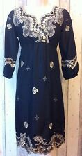 BETTY BARCLAY 100% Silk Dress Size 8 Black Gold Quirky Wedding Guest Party VGC