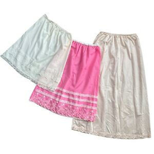 Vintage XS/ S Half Slip Lot of 3, 1960s Embroidered, Lace, Tiered Skirts