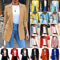 Women's Lapel Formal Blazer Ladies Long Sleeve Casual Slim Fit Jackets Coat Suit