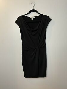 MICHAEL Michael Kors Women's Size Small Black Sheath Dress Ruched Cap Sleeve