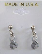 Brain Cancer Awareness gray ribbon dangle pierced earrings,silvertone,USA made