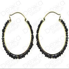 18K Gold On Sterling Silver Vermeil Hoop Earrings Black Onyx Mini Gemstones