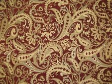 """Chenille Upholstery fabric Crimson Paisley Drapery fabric by the yard 57"""" Wide"""