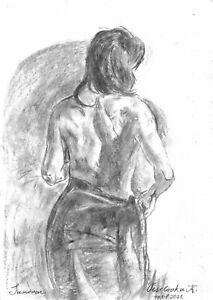 original drawing A3 24VX art samovar Charcoal modern female nude sketch Signed