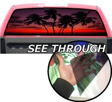 P44 Palm Trees Sunset Rear Window Tint Graphic Decal Wrap Back Pickup Graphics