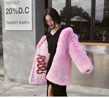 Fashion Candy Color Faux Fox Fur Furry Warm Jacket Coat Mid Long Outerwear Top