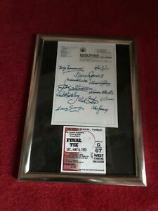 Leeds United 1972 Cup Final  Signed By 12 Legends With ticket, ORIGINAL REPRINT