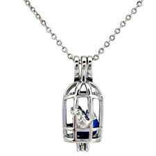 """Oil Diffuser Pearl Cage Locket 18"""" 5K670 Bird in Birdcage Beads Cage Essential"""