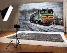 7x5ft Background Scene Photo Backdrop Studio Prop Vinyl Steam Train Outdoor Film