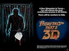 "FRIDAY THE 13th PART 3 3D repro UK quad poster 30x40"" Jason Vorhees FREE P&P"