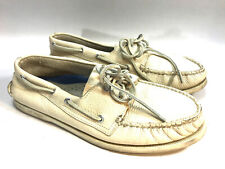 SPERRY TOPSIDER ivory pebble leather rawhide lace boat shoes loafers 12 FREESHIP