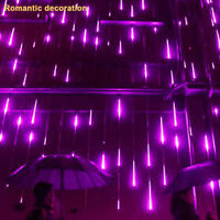 New Party LED Lights Meteor Shower Rain Snowfall Xmas Tree Garden Outdoor Purple