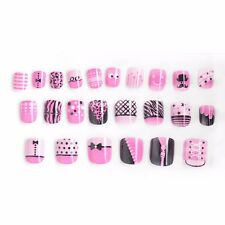 24 Pcs Pink Artificial Nail Tips Cartoon Press On Full Cover Fake Nails For Kids
