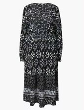 BNWT MARKS AND SPENCER Black And White Floral Midi Dress Size 14 Long Sleeve