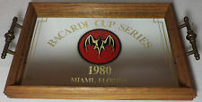 Vhtf Collectible Bacardi Rum Wooden Serving Tray With Mirror Since 1980
