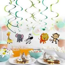 30Pcs Safari Animal Jungle Ceiling Hanging Swirl Decors Festive Party Supplies