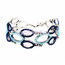 Blue Stone Linked Flex Bracelet Lucky Brand Antiqued Silver Tone