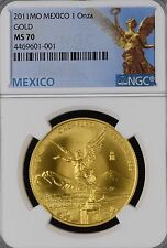 2011 Mexico 1 oz Gold Libertad NGC MS 70 (mexican winged victory onza oro mo)