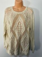 WOMENS RIVER ISLAND UK 14 CREAM DIAMOND KNITTED CASUAL JUMPER SWEATER PULL OVER