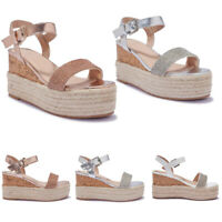 NEW Womens Ladies Girls Chunky Hessian Wedge Casual Comfort Strap Sandals Size +