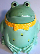 "Ca. 1980 Otagiri Frog Cookie Jar Labeled Adorable 8 1/2"" H Japan Flowers Bowtie"